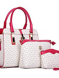 Mulher Bolsas Todas as Estações Couro Ecológico Bolsa de Ombro Tote Conjuntos de saco com para Compras Casual Formal Bege Azul Rosa claro