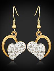 dangle gota brincos coração das mulheres de luxo de ouro 18k chapeado strass austríaco