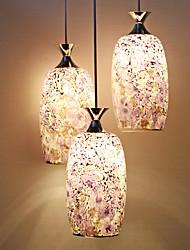 Purple Mosaic Glass 3 Light Pendant