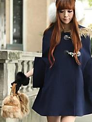 lã de gola de pele casaco xadrez capa outerwear mulheres (mais cores)