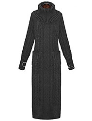 RLK Turtle Neck Weaving Sweater Dress  8655 Black,Almond,Gray