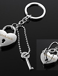 Personalized Engravable Silver Heart Real Lock Key Love Pendant Gift Key Chain Ring