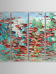 Hand Painted Oil Painting Abstract Flowers with Stretched Frame Set of 4 1310-AB1167