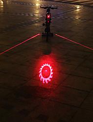 UNGROL Double Red Lines+1 Flame Wheel Design 1 Laser Module 6 LED 6 Flash Mode Black Bike Warning Laser Light