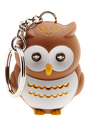 Cartoon Owl LED Flashlight Light-up Keychain with Sound Effects (Brown)