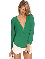 Women's V Neck Long Sleeve Zipper T-shirt(More Colors)
