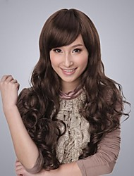 Capless Extra Long High Quality Synthetic Natural Look Brown Curly Hair Wig