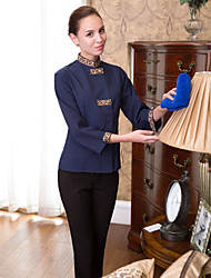 Housekeeping Uniform Standing Single-Breasted Buttons Plain Scrubs