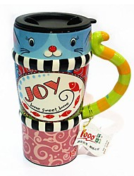 QIANDU Joy Cat Painted Mug with Tail Handle for Gift, Painting Ceramic, 450ML