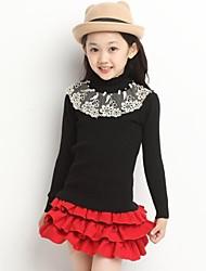 Mode für Mädchen Spitze Hochhals Langarm-T-Shirt Strick