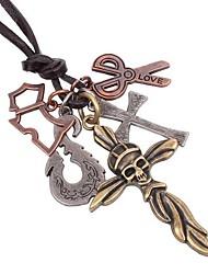 Vintage Punk Cross Hide Rope Men's Necklaces(1pc)