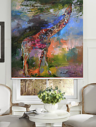 Abstract Oil Painting Style Giraffe Roller Shade