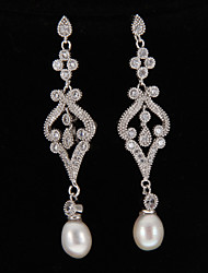 Silver Platinum Plating Pearl Earrings