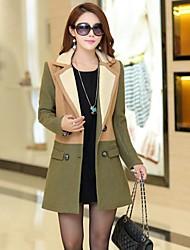 Women's Blue/Green Trench Coat , Casual Long Sleeve Tweed/Wool