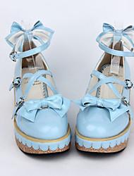 Schuhe Niedlich Prinzessin Keilabsatz Schuhe Schleife 5 CM Rosa / Blau Für Damen PU - Leder/Polyurethan Leder