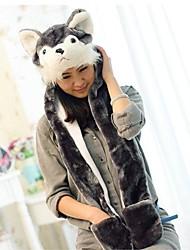 Kigurumi Pyjamas Dog Hut Fest/Feiertage Tiernachtwäsche Halloween Grau Druck Kunstpelz / Polyester Mützen Für Unisex Halloween / Karneval