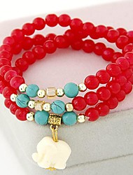 Fashion Ladies Wild OL Auspicious Elephant Pendant Crystal Beads Bracelet
