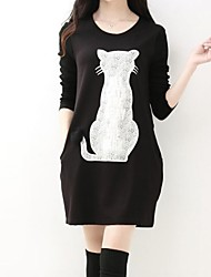 Women's Character Red/Black/Gray Dress , Beach/Casual/Print/Cute/Party/Work Round Neck Long Sleeve