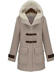 das mulheres com capuz slim-encaixe de lã longo casaco meio