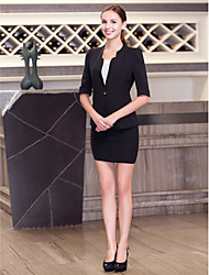 Front Desk Collarless Single-Breasted Buttons Twill Suit
