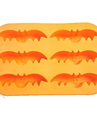 Halloween Theme 6 Holes Bat Shape Cake Baking Tray, Food Safe Silicone, Random Colors
