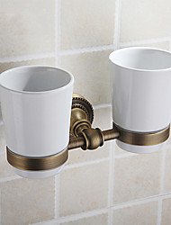 Toothbrush Holder With Double Cup ,Antique Brass Finish Brass Material,Bathroom Accessory