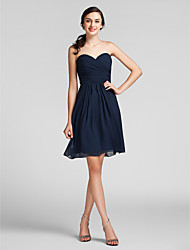 Lanting Bride® Knee-length Chiffon Bridesmaid Dress Sheath / Column Sweetheart Plus Size / Petite with Draping / Criss Cross