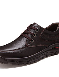 Men's Shoes Leather Spring Summer Fall Winter Comfort Light Soles Lace-up For Casual Office & Career Black Brown