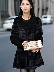 мода с длинным рукавом шуба женская пу&мех тонкий шуба (больше цветов)