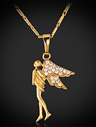 Luxury Angel Spark AAA+ Cubic Zirconia Zircon 18K Real Chunky Gold Plated Pendant Charm Necklace for Women