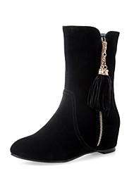 Women's Shoes Fashion Boots Wedge Heel  Mid-Calf Boots with Zipper