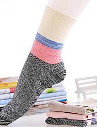 Meias moda tarja de algodão 5pairs mulheres (cor aleatória de colocação)