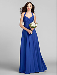 Floor-length Chiffon Bridesmaid Dress Sheath / Column Halter Apple / Hourglass / Inverted Triangle / Pear / Plus Size / Petite / Misses