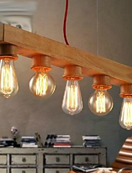 madeira moderno 5-luz pendente luz