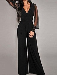 Women's Black Embellished Cuffs Long Sleeves Jumpsuit