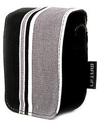 striscia colorata di tela borsa della macchina fotografica digitale con la spalla&cinturino in vita [nero]