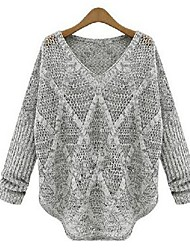 Women's Casual V Neck Solidi Color Loose Sweater