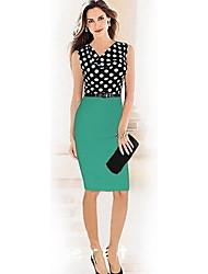 GGN Women's Sexy V Neck Polka Dots Bodycon Sleeveless Dress
