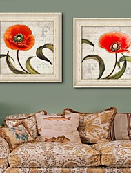 Framed Canvas Art, The Red  Flowers Framed Canvas Print Set of 2