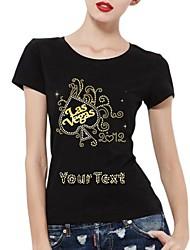 algodão mangas curtas padrão t-shirt personalizados las vegas das mulheres