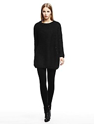 OSA ® Women's  Long Sleeve Solid Black Loose Knitted Pullovers Sweaters