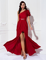 Formal Evening / Prom / Military Ball Dress - Burgundy Plus Sizes / Petite Sheath/Column One Shoulder Floor-length Jersey