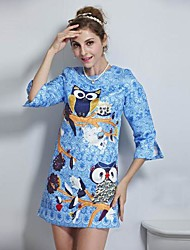 Women's Formal Shift Dress,Print Crew Neck Mini ¾ Sleeve Blue Polyester Fall