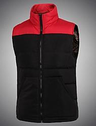 Men's Regular Parka Coat , Polyester Pure Sleeveless
