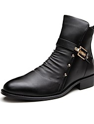 Men's Spring / Summer / Fall / Winter Pointed Toe / Closed Toe / Motorcycle Boots Leather Casual Low Heel Zipper Black