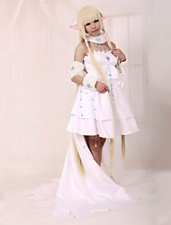Inspired by Tsubasa Chii Anime Cosplay Costumes Cosplay Suits / Dresses Patchwork White Long Sleeve Dress / Collar