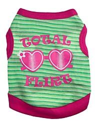 Chat Chien Tee-shirt Vert Bleu Rouge Rose Vêtements pour Chien Printemps/Automne Cœur Lettre et chiffre