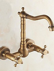 Wall Mounted Two Handles Two Holes with Antique Brass Kitchen faucet