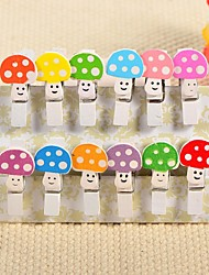 décoration de mariage en bois pince mini champignons - un ensemble de 12 pièces