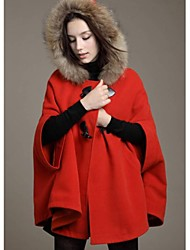 Women's Thick Hooded Faux Fur Collar Woolen Blend Winter Coat